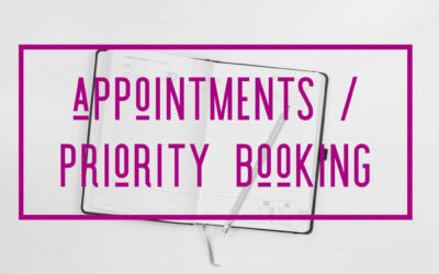 UPCOMING APPOINTMENTS / PRIORITY BOOKING